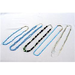 5 Navajo Silver Turquoise Necklaces