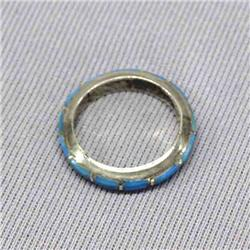 Navajo Silver Channel Inlay Turquoise Wedding Band