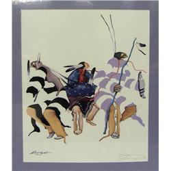 Signed Print of Pueblo Dancers by Sam English