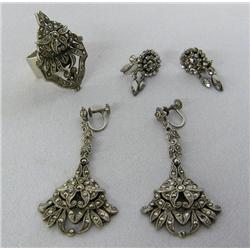2 Pr Vintage Marcasite Earrings & Ring