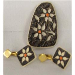 American Indian Carved Moose Bone Pin & Earrings