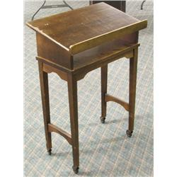 Antique Wood Receiving Table on Wheels