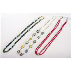 3 Navajo Necklaces Silver Turquoise & Red Bead