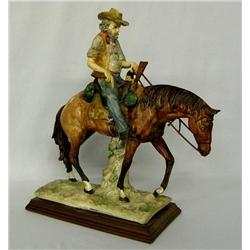 Ceramic Cowboy & Horse Statue