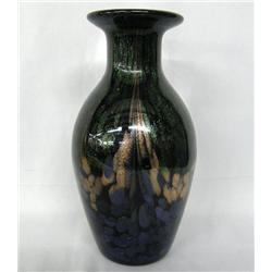 Hand Blown Iridescent Art Glass Vase