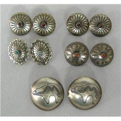 5 Pr Navajo Sterling Turquoise Pierced Earrings