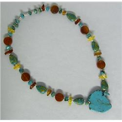 SW Turquoise Agate Amber Silver Bead Necklace