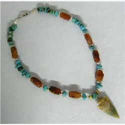 SW Turquoise Agate Contemporary Arrowhead Necklace
