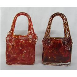 2 Chinese Hand Blown Glass Baskets