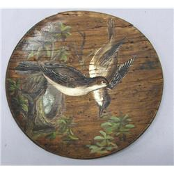 1930s Antique Hand Painted Wood Plate By Schultz