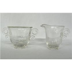 Heisey Glass Cream & Sugar Marked