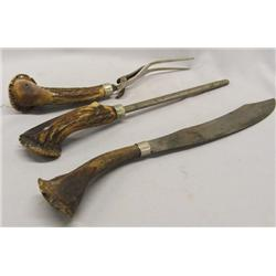 Antique Bone Handled Carving Set