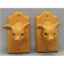 Pair Ceramic Pig Kitchen Towell Hooks