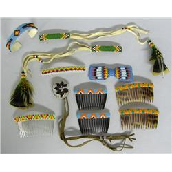 10 Vintage Sioux Beaded Hair Barrettes, Combs Plus