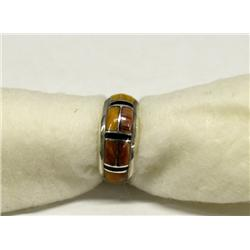Zuni Sterling Inlay Jet & Shell Ring Hallmark