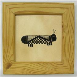 Framed Tile With Mimbres Grasshopper Design