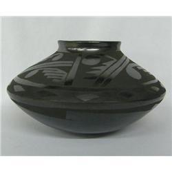 Mata Ortiz Black on Black Pottery Bowl