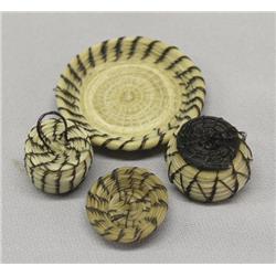 4 Papago Miniature Baskets & Plates