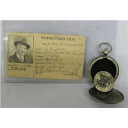 Antique Wells Fargo Water Front Pass & Stamp