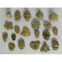 20 Authentic Precolumbian Pottery Heads