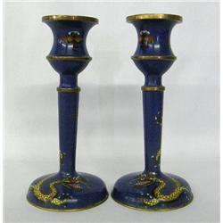 Antique Dragon Design Enamel On Brass Candlesticks