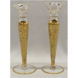 2 Glass Gold Encrusted Bud Vases
