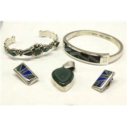 4 Mexican Jewelry Silver, Malachite, Lapis