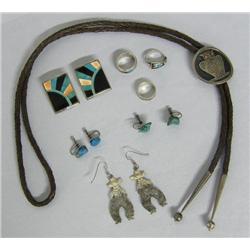 8 Navajo Rings, Bolo, Earrings, Asst. Jewelry