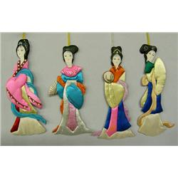 4 Vintage Chinese Cloth Ornaments