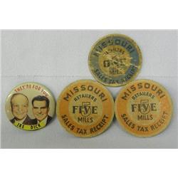 3 Vintage Tax Tokens 1 Political Button
