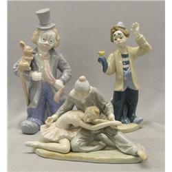 3 Ceramic Clowns