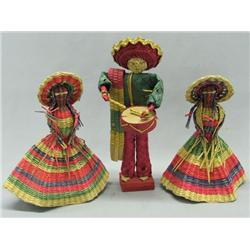 3 Vintage Mexican Straw Dolls
