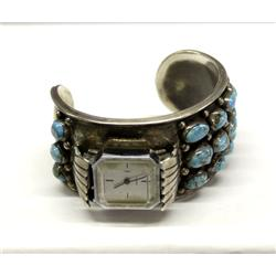 Navajo Silver and Turquoise Watch Band Hallmark FG