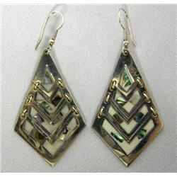 Mexican Silver Abalone Shell Pierced Earrings