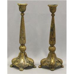 Pair Antique Bronze Candlestick Holders