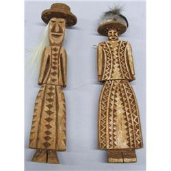 Pair of Tarahumara Carved Wood Figures