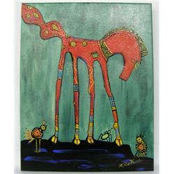 Original Indian Painting By Kills Thunder