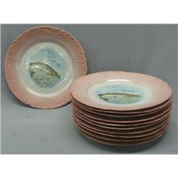 11 Antique Victorian Carlsbad Austrian Fish Plates