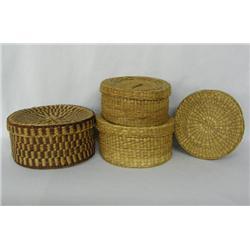 4 Ethnic Lidded Baskets