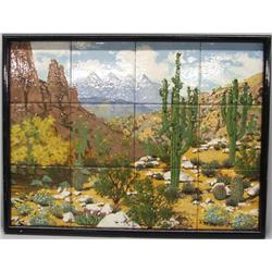 Framed Tile Painting of Saguaro Desert by Zillman