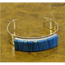 Navajo Silver Inlay Turquoise Bracelet Hallmark ED