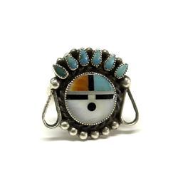 Vintage Zuni Sun God Silver Inlay Ring