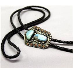 Vintage Navajo Silver Turquoise Coral Bolo