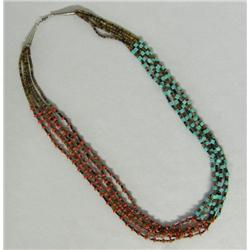 Navajo 5 Strand Turquoise Coral Heishi Necklace