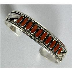 Zuni Sterling Silver & Coral Bracelet by R Nieto