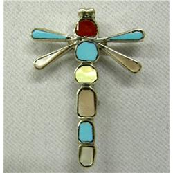 Zuni Dragonfly Silver Inlay Pin Turquoise Coral MO