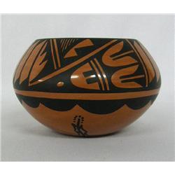 Hopi Glazed Feather Design Pottery Hallmarked