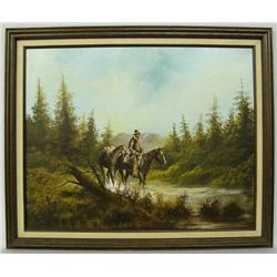 Original Oil Painting By Cowboy Artist L Hughes