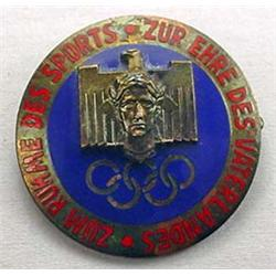 WW2 GERMAN NAZI 1936 BERLIN OLYMPICA ENAMELED BADG