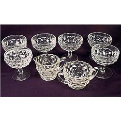 LOT OF FOSTORIA GLASSWARE - 6 Sherbets, Creamer an